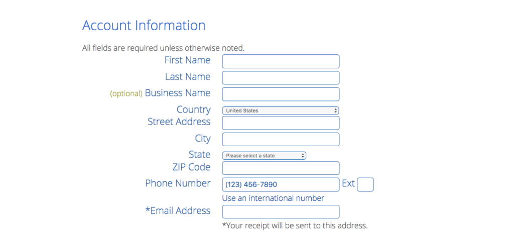 Account information for your WordPress blog at Bluehost