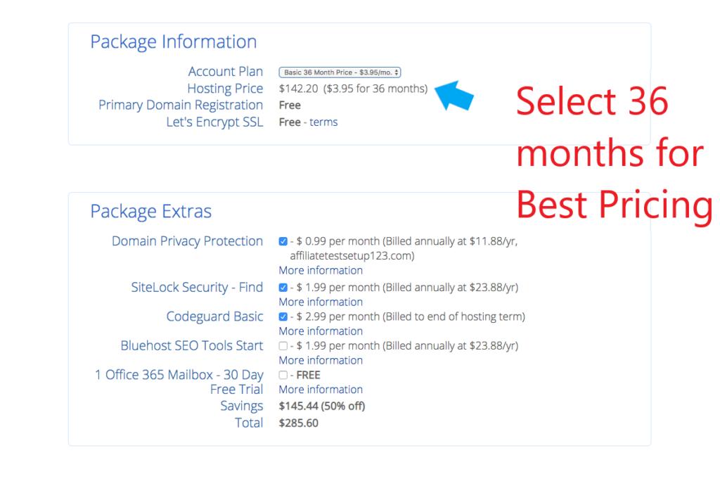 Best WordPress blog hosting package on Bluehost.